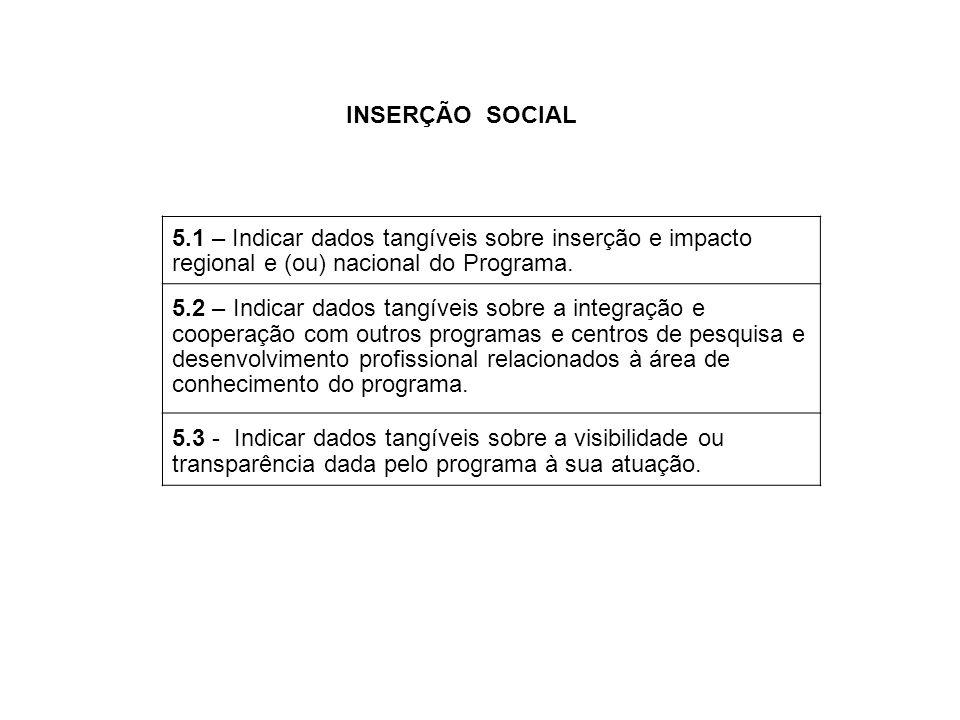 5.1 – Indicar dados tangíveis sobre inserção e impacto regional e (ou) nacional do Programa. 5.2 – Indicar dados tangíveis sobre a integração e cooper