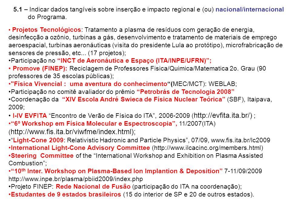 5.1 – Indicar dados tangíveis sobre inserção e impacto regional e (ou) nacional/internacional do Programa. Projetos Tecnológicos: Tratamento a plasma