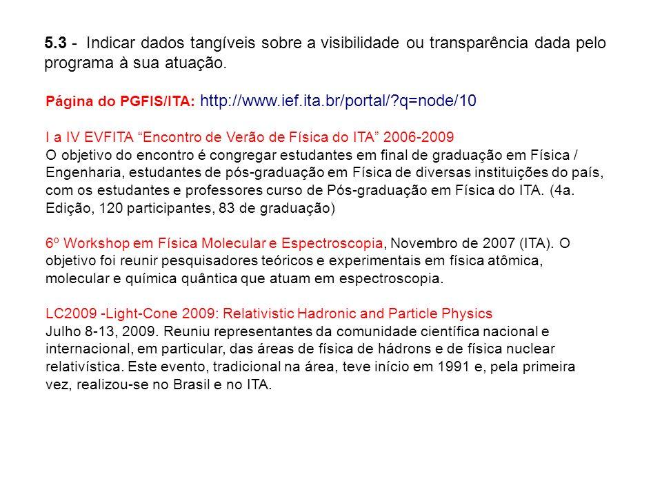 5.3 - Indicar dados tangíveis sobre a visibilidade ou transparência dada pelo programa à sua atuação. Página do PGFIS/ITA: http://www.ief.ita.br/porta