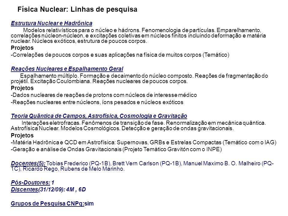 Física Nuclear: Linhas de pesquisa Estrutura Nuclear e Hadrônica Modelos relativísticos para o núcleo e hádrons. Fenomenologia de partículas. Emparelh