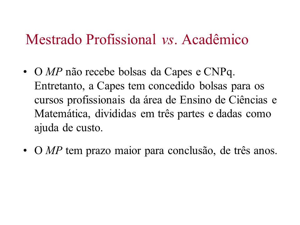 Mestrado Profissional vs. Acadêmico O MP não recebe bolsas da Capes e CNPq. Entretanto, a Capes tem concedido bolsas para os cursos profissionais da á