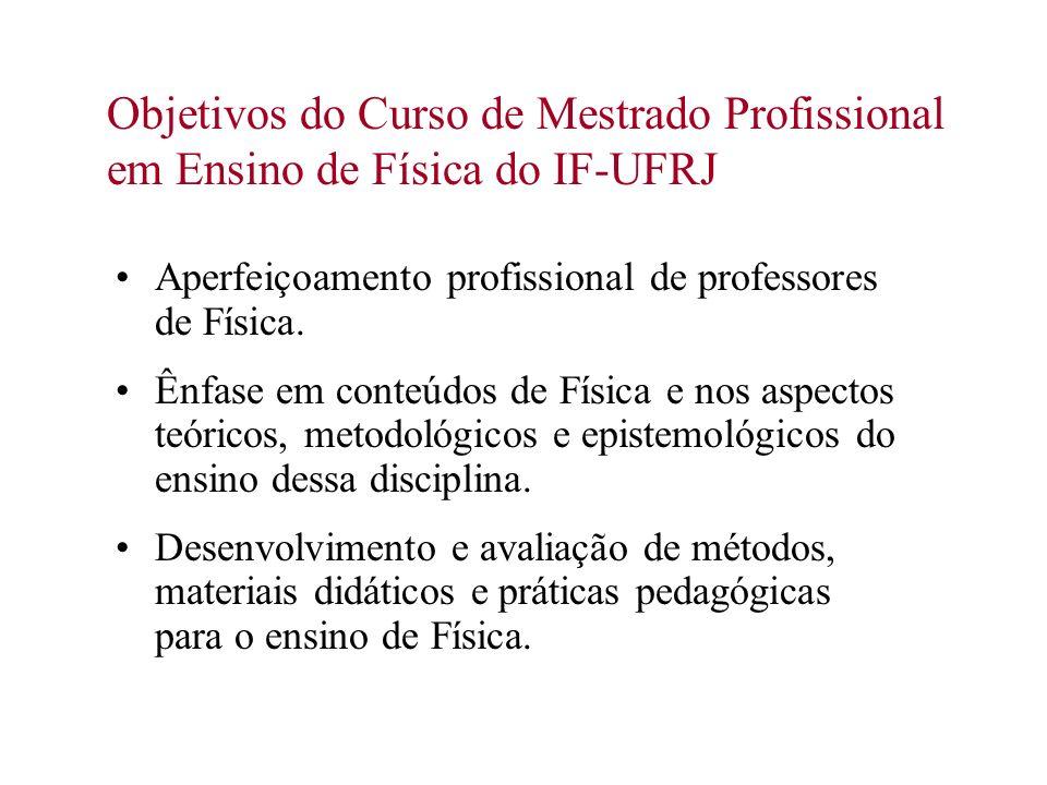 Objetivos do Curso de Mestrado Profissional em Ensino de Física do IF-UFRJ Aperfeiçoamento profissional de professores de Física. Ênfase em conteúdos