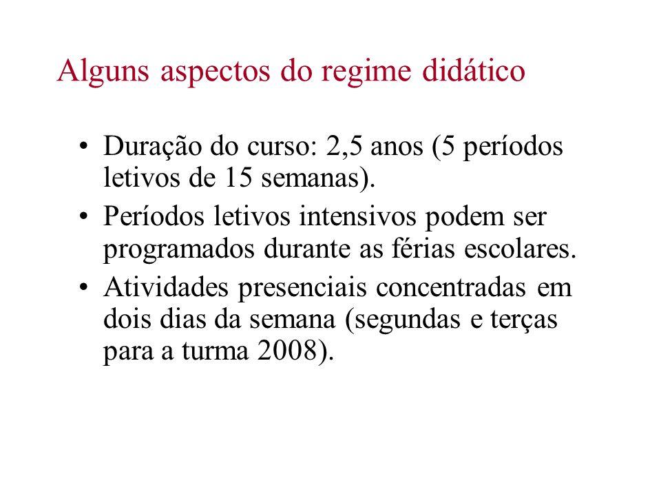 Alguns aspectos do regime didático Duração do curso: 2,5 anos (5 períodos letivos de 15 semanas). Períodos letivos intensivos podem ser programados du
