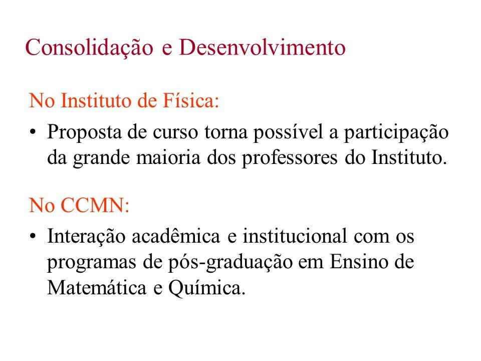 Consolidação e Desenvolvimento No Instituto de Física: Proposta de curso torna possível a participação da grande maioria dos professores do Instituto.