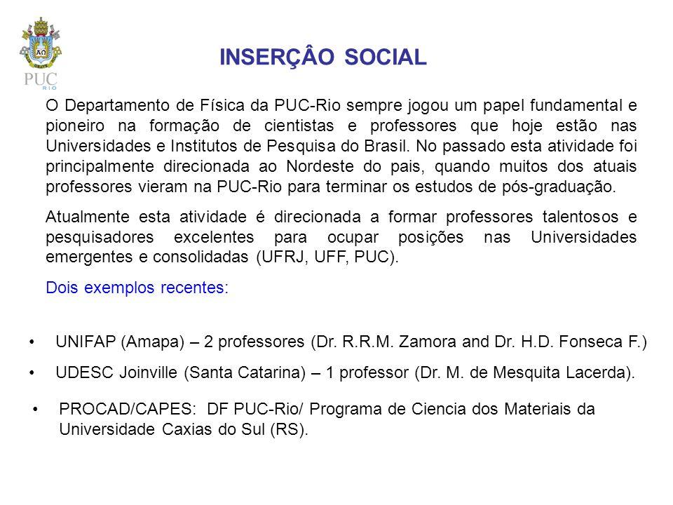 INSERÇÂO SOCIAL O Departamento de Física da PUC-Rio sempre jogou um papel fundamental e pioneiro na formação de cientistas e professores que hoje estã