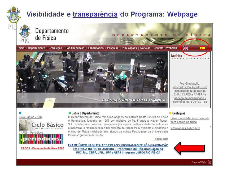 Visibilidade e transparência do Programa: Webpage