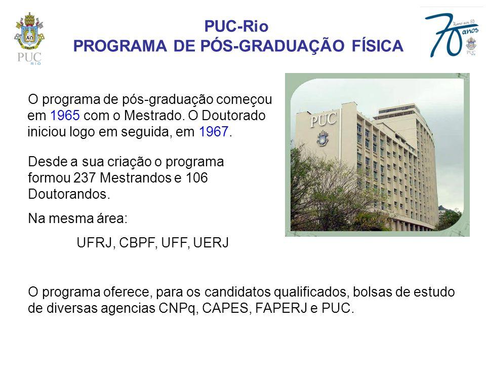 PUC-Rio PROGRAMA DE PÓS-GRADUAÇÃO FÍSICA O programa de pós-graduação começou em 1965 com o Mestrado. O Doutorado iniciou logo em seguida, em 1967. O p