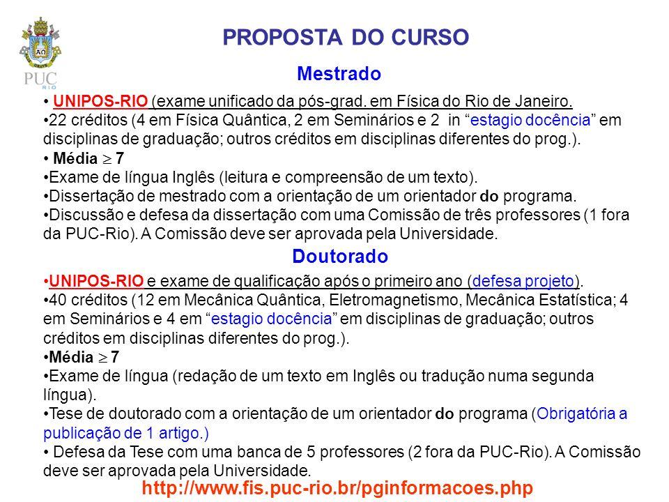 PROPOSTA DO CURSO Mestrado UNIPOS-RIO (exame unificado da pós-grad. em Física do Rio de Janeiro. 22 créditos (4 em Física Quântica, 2 em Seminários e