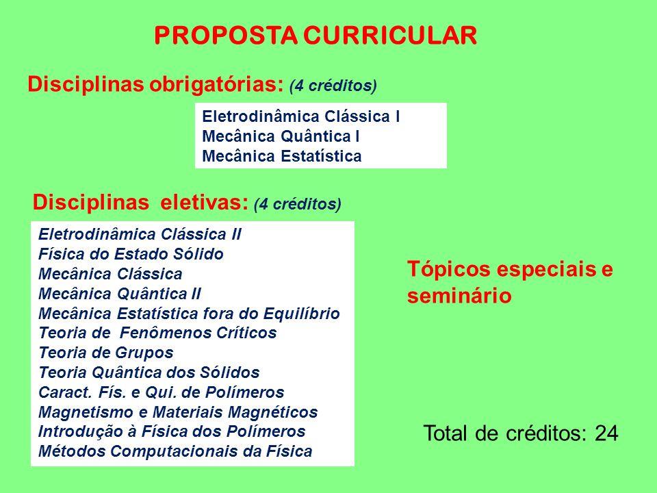 PROPOSTA CURRICULAR Disciplinas obrigatórias: (4 créditos) Eletrodinâmica Clássica I Mecânica Quântica I Mecânica Estatística Eletrodinâmica Clássica