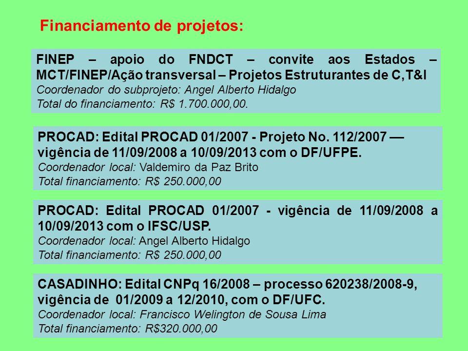 PROCAD: Edital PROCAD 01/2007 - Projeto No. 112/2007 –– vigência de 11/09/2008 a 10/09/2013 com o DF/UFPE. Coordenador local: Valdemiro da Paz Brito T