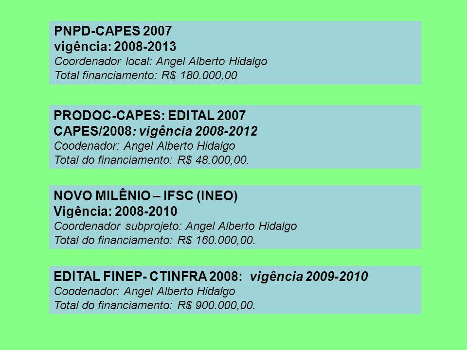 NOVO MILÊNIO – IFSC (INEO) Vigência: 2008-2010 Coordenador subprojeto: Angel Alberto Hidalgo Total do financiamento: R$ 160.000,00. PRODOC-CAPES: EDIT