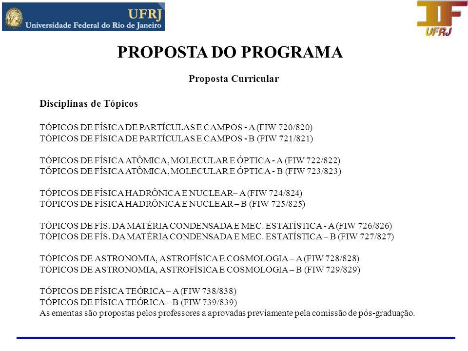 PROPOSTA DO PROGRAMA Projetos ativos em 2007 e 2009 Institutos do Milênio CNPq-MCT(Acima de 1 milhão de reais): - Informação Quântica - Iniciado em 2001 e coordenado pelo Prof.