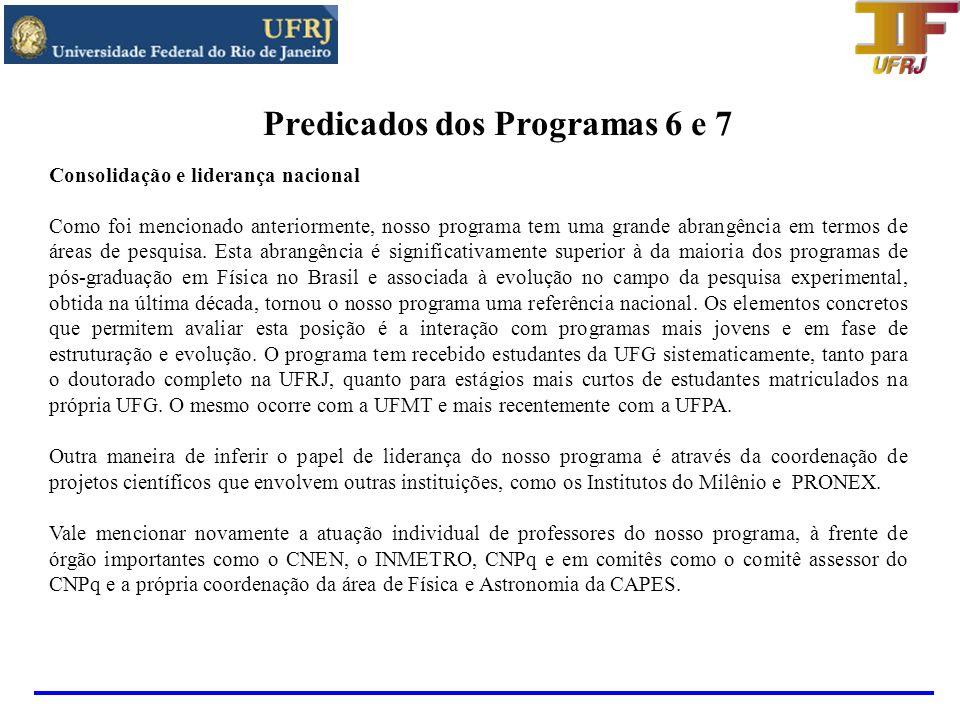 1 - Inserção e impacto regional e nacional do programa: O programa de pós-graduação em Física da UFRJ vem exercendo um papel cada vez mais relevante, tanto regionalmente quanto nacionalmente.