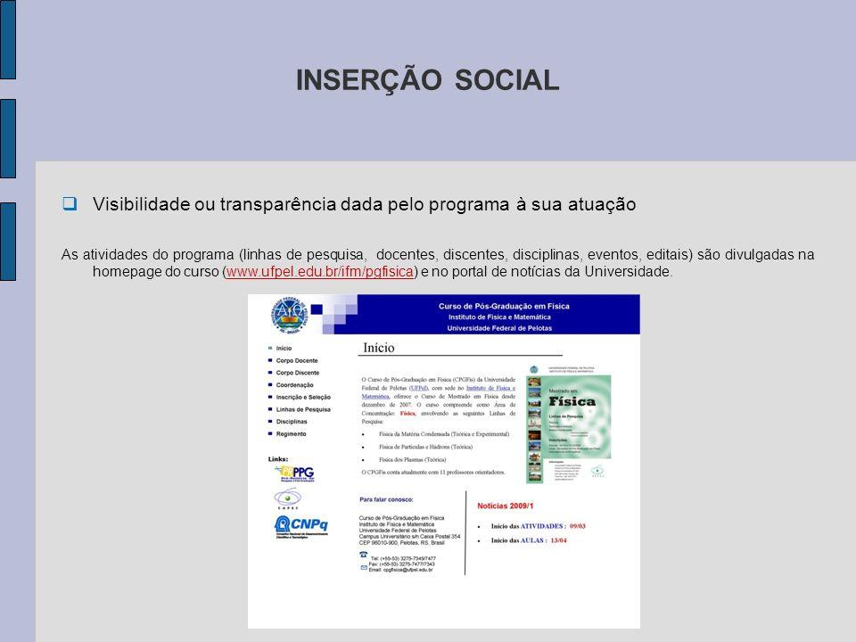 INSERÇÃO SOCIAL Visibilidade ou transparência dada pelo programa à sua atuação As atividades do programa (linhas de pesquisa, docentes, discentes, dis