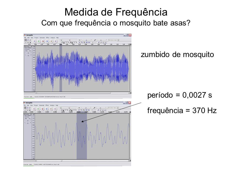 Medida de Frequência Com que frequência o mosquito bate asas? zumbido de mosquito período = 0,0027 s frequência = 370 Hz