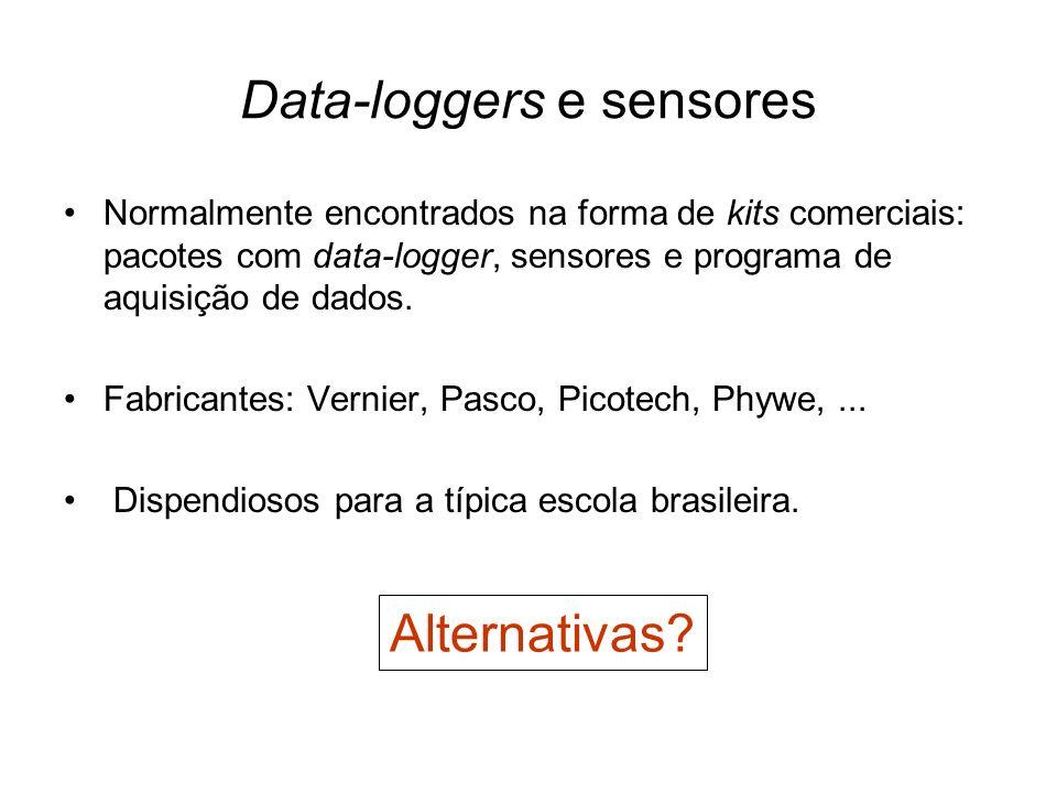 Data-loggers e sensores Normalmente encontrados na forma de kits comerciais: pacotes com data-logger, sensores e programa de aquisição de dados. Fabri