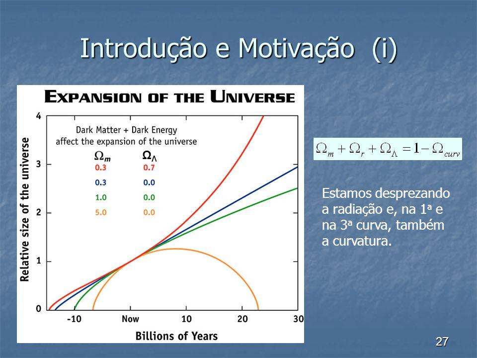 27 Introdução e Motivação (i) ΩΛΩΛ Estamos desprezando a radiação e, na 1 a e na 3 a curva, também a curvatura.