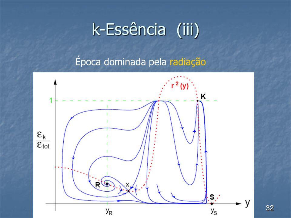 32 k-Essência (iii) Época dominada pela radiação
