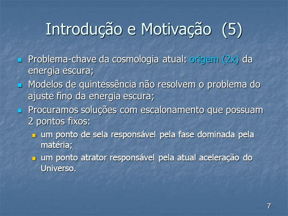 28 Introdução e Motivação (ii) O modelo padrão prevê condições iniciais (pós Big Bang) muito peculiares.