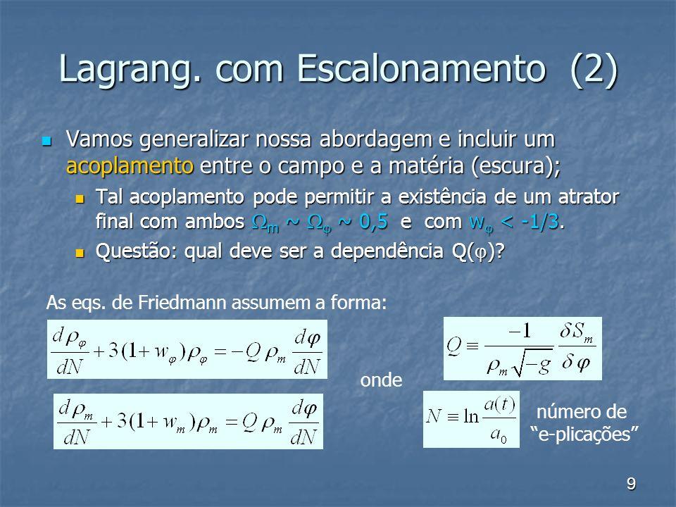 20 Solução para a Coincidência Buscamos uma cosmologia de 2 estágios: uma fase desacelerada dominada pela matéria, e uma acelerada; Buscamos uma cosmologia de 2 estágios: uma fase desacelerada dominada pela matéria, e uma acelerada; São necessários 2 pontos fixos: o 1 o um ponto de sela, o 2 o um nó atrator; São necessários 2 pontos fixos: o 1 o um ponto de sela, o 2 o um nó atrator; Fase dom.