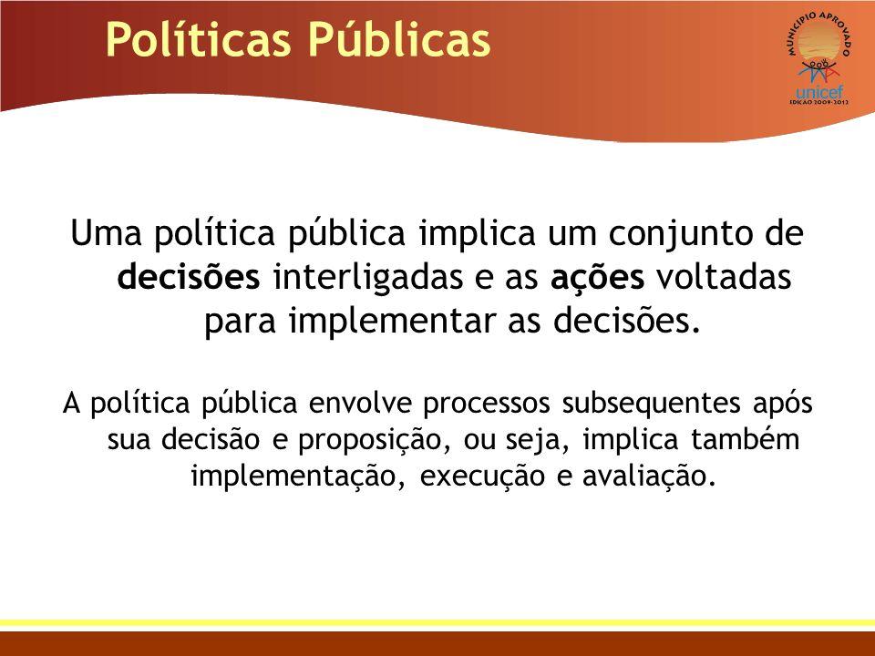 Políticas Públicas Uma política pública implica um conjunto de decisões interligadas e as ações voltadas para implementar as decisões. A política públ