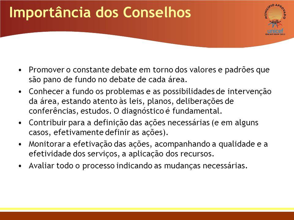Importância dos Conselhos Promover o constante debate em torno dos valores e padrões que são pano de fundo no debate de cada área. Conhecer a fundo os