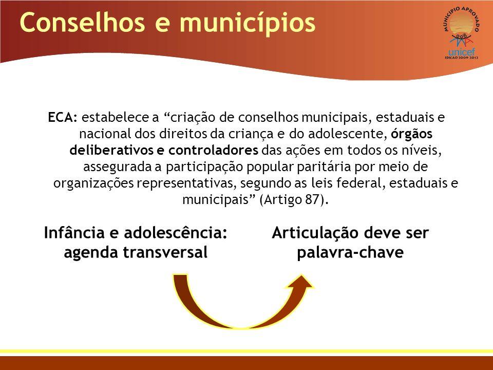 ECA: estabelece a criação de conselhos municipais, estaduais e nacional dos direitos da criança e do adolescente, órgãos deliberativos e controladores
