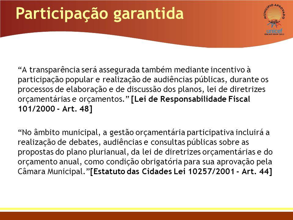 Participação garantida A transparência será assegurada também mediante incentivo à participação popular e realização de audiências públicas, durante o