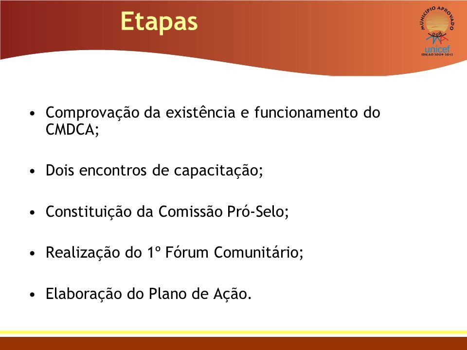 Etapas Comprovação da existência e funcionamento do CMDCA; Dois encontros de capacitação; Constituição da Comissão Pró-Selo; Realização do 1º Fórum Co