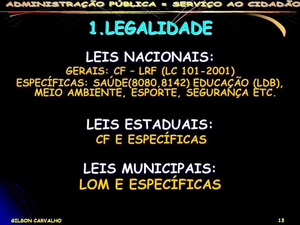 GILSON CARVALHO 13 1.LEGALIDADE LEIS NACIONAIS: GERAIS: CF – LRF (LC 101-2001) ESPECÍFICAS: SAÚDE(8080,8142) EDUCAÇÃO (LDB), MEIO AMBIENTE, ESPORTE, S