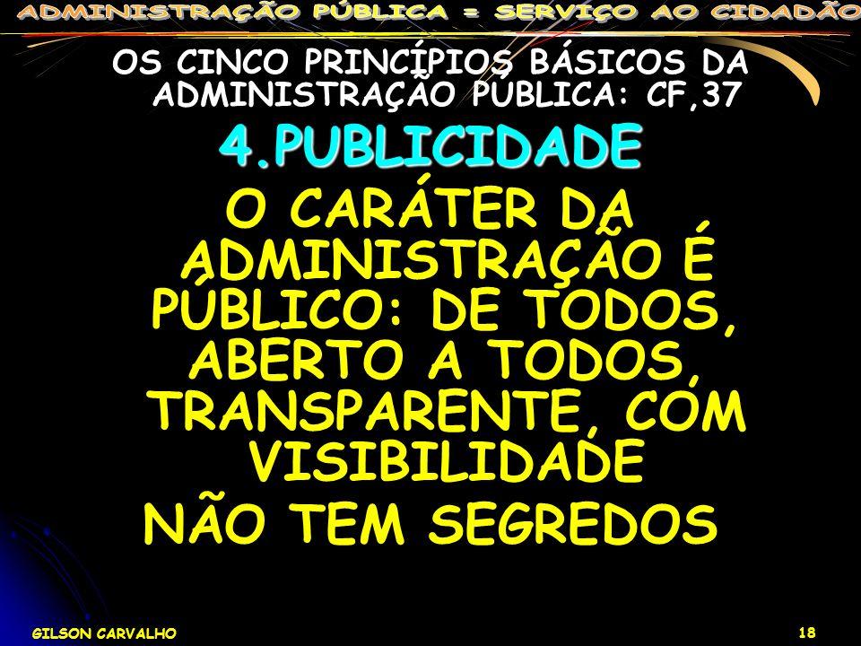 GILSON CARVALHO 18 OS CINCO PRINCÍPIOS BÁSICOS DA ADMINISTRAÇÃO PÚBLICA: CF,374.PUBLICIDADE O CARÁTER DA ADMINISTRAÇÃO É PÚBLICO: DE TODOS, ABERTO A T