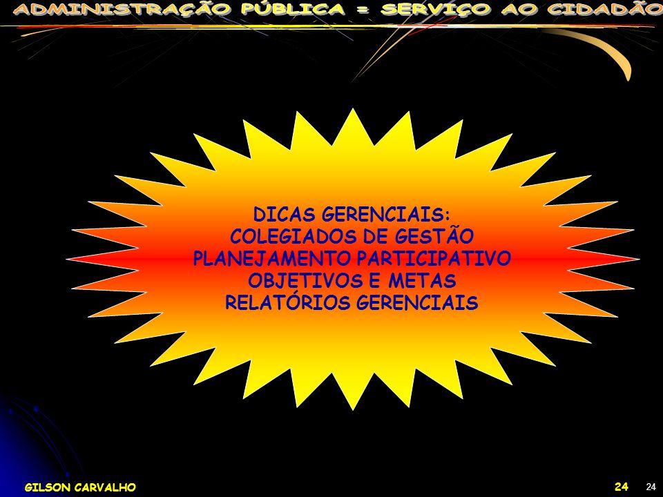 GILSON CARVALHO 24 24 DICAS GERENCIAIS: COLEGIADOS DE GESTÃO PLANEJAMENTO PARTICIPATIVO OBJETIVOS E METAS RELATÓRIOS GERENCIAIS