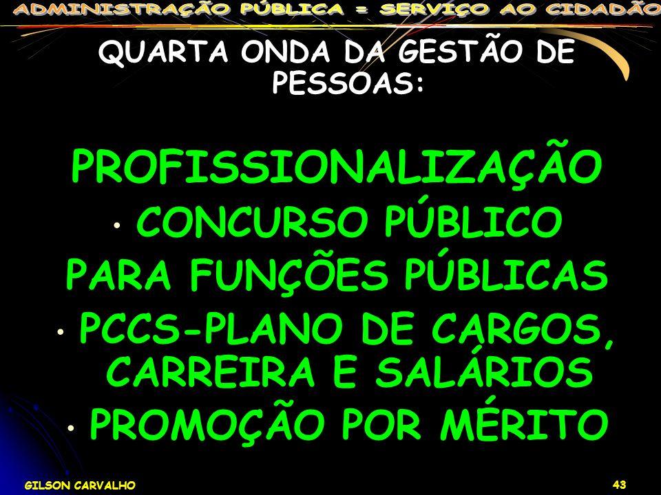 GILSON CARVALHO 43 QUARTA ONDA DA GESTÃO DE PESSOAS: PROFISSIONALIZAÇÃO CONCURSO PÚBLICO PARA FUNÇÕES PÚBLICAS PCCS-PLANO DE CARGOS, CARREIRA E SALÁRI