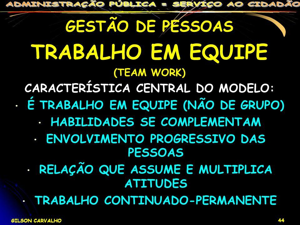 GILSON CARVALHO 44 GESTÃO DE PESSOAS TRABALHO EM EQUIPE (TEAM WORK) CARACTERÍSTICA CENTRAL DO MODELO: É TRABALHO EM EQUIPE (NÃO DE GRUPO) HABILIDADES