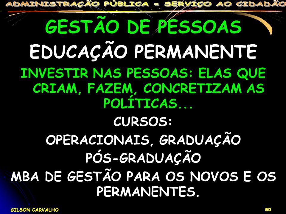 GILSON CARVALHO 50 GESTÃO DE PESSOAS EDUCAÇÃO PERMANENTE INVESTIR NAS PESSOAS: ELAS QUE CRIAM, FAZEM, CONCRETIZAM AS POLÍTICAS... CURSOS: OPERACIONAIS