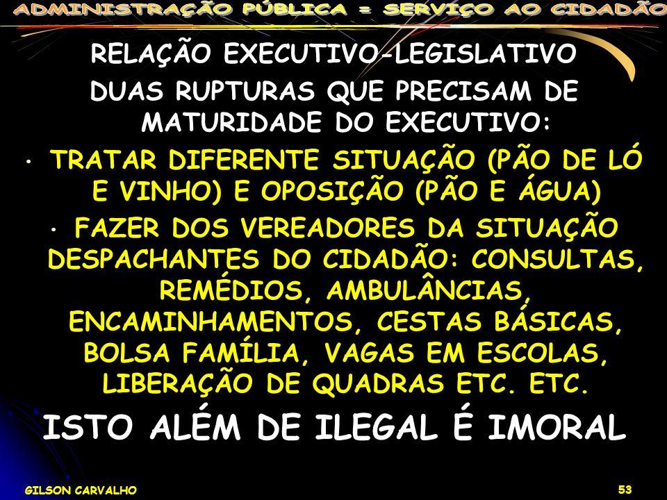 GILSON CARVALHO 53 RELAÇÃO EXECUTIVO-LEGISLATIVO DUAS RUPTURAS QUE PRECISAM DE MATURIDADE DO EXECUTIVO: TRATAR DIFERENTE SITUAÇÃO (PÃO DE LÓ E VINHO)