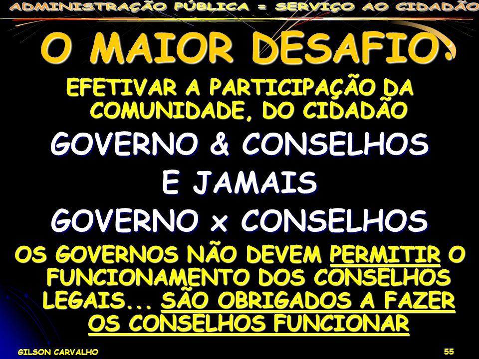GILSON CARVALHO 55 O MAIOR DESAFIO: O MAIOR DESAFIO: EFETIVAR A PARTICIPAÇÃO DA COMUNIDADE, DO CIDADÃO GOVERNO & CONSELHOS E JAMAIS GOVERNO x CONSELHO