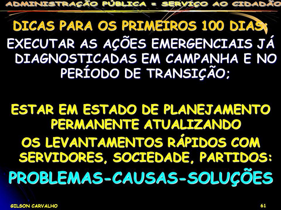 GILSON CARVALHO 61 DICAS PARA OS PRIMEIROS 100 DIAS: EXECUTAR AS AÇÕES EMERGENCIAIS JÁ DIAGNOSTICADAS EM CAMPANHA E NO PERÍODO DE TRANSIÇÃO; ESTAR EM