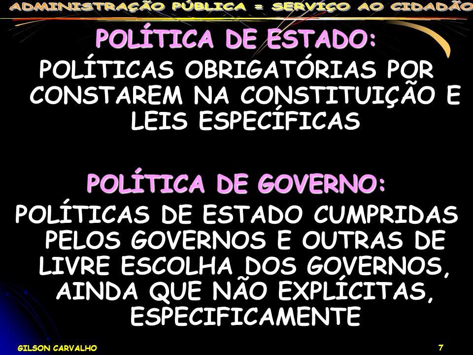 GILSON CARVALHO 7 POLÍTICA DE ESTADO: POLÍTICAS OBRIGATÓRIAS POR CONSTAREM NA CONSTITUIÇÃO E LEIS ESPECÍFICAS POLÍTICA DE GOVERNO: POLÍTICAS DE ESTADO