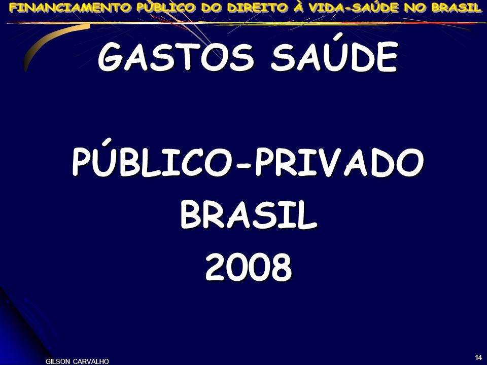 14 GASTOS SAÚDE PÚBLICO-PRIVADOBRASIL2008