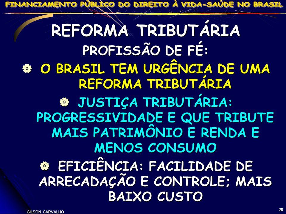 GILSON CARVALHO 26 REFORMA TRIBUTÁRIA PROFISSÃO DE FÉ: O BRASIL TEM URGÊNCIA DE UMA REFORMA TRIBUTÁRIA O BRASIL TEM URGÊNCIA DE UMA REFORMA TRIBUTÁRIA