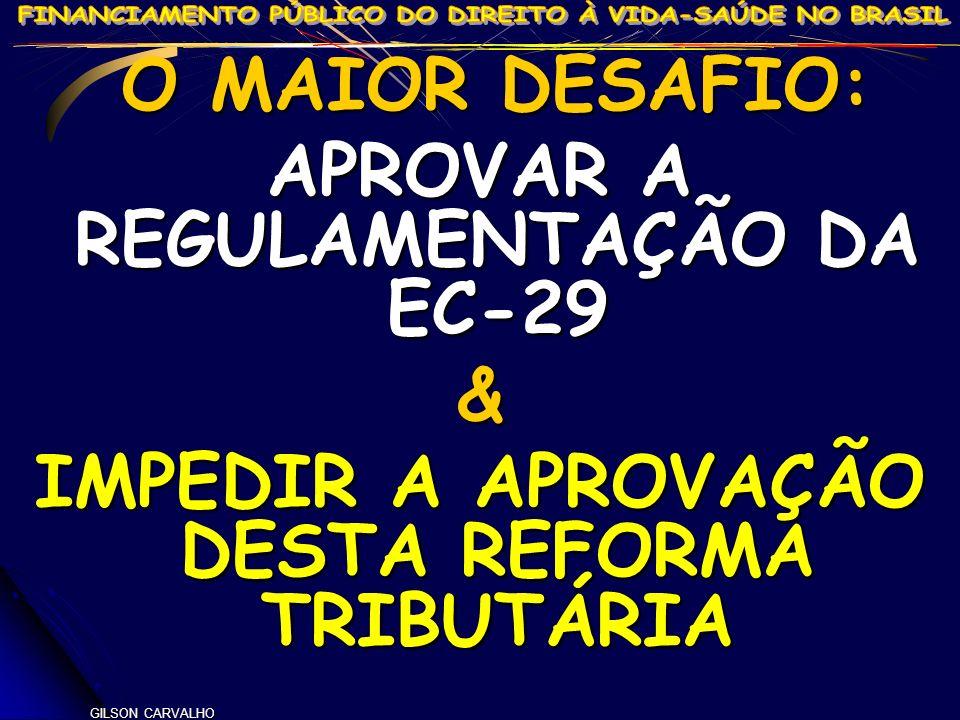GILSON CARVALHO O MAIOR DESAFIO: O MAIOR DESAFIO: APROVAR A REGULAMENTAÇÃO DA EC-29 & IMPEDIR A APROVAÇÃO DESTA REFORMA TRIBUTÁRIA