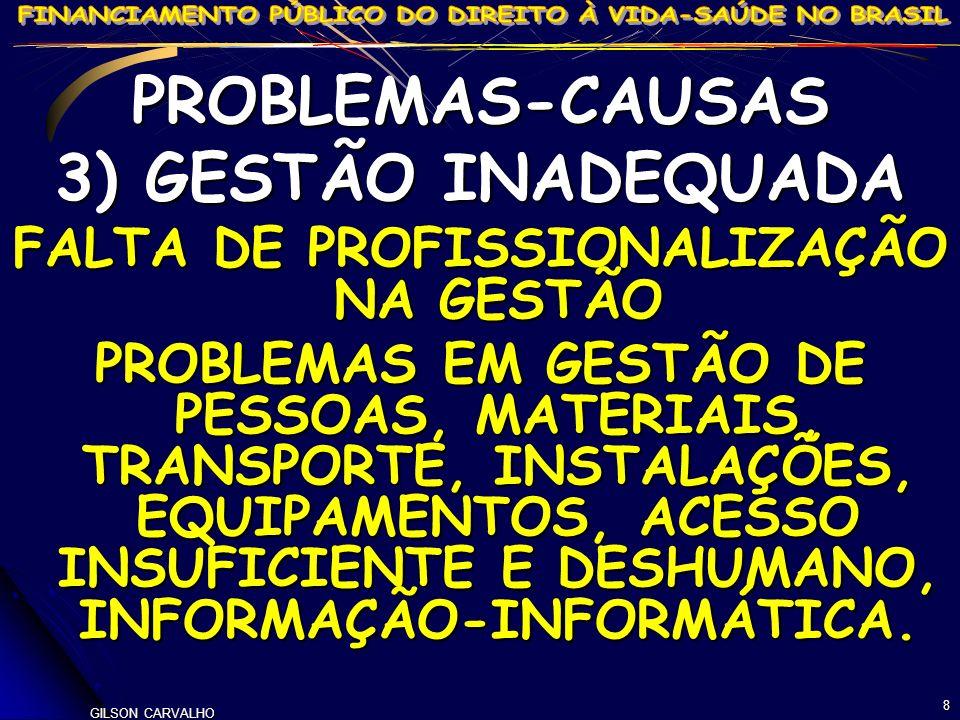 GILSON CARVALHO 8 PROBLEMAS-CAUSAS 3) GESTÃO INADEQUADA FALTA DE PROFISSIONALIZAÇÃO NA GESTÃO PROBLEMAS EM GESTÃO DE PESSOAS, MATERIAIS, TRANSPORTE, I