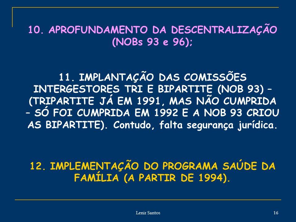 Lenir Santos 16 10.APROFUNDAMENTO DA DESCENTRALIZAÇÃO (NOBs 93 e 96); 11.