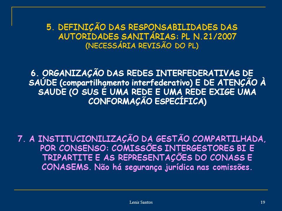 Lenir Santos 19 5. DEFINIÇÃO DAS RESPONSABILIDADES DAS AUTORIDADES SANITÁRIAS: PL N.21/2007 (NECESSÁRIA REVISÃO DO PL) 6. ORGANIZAÇÃO DAS REDES INTERF