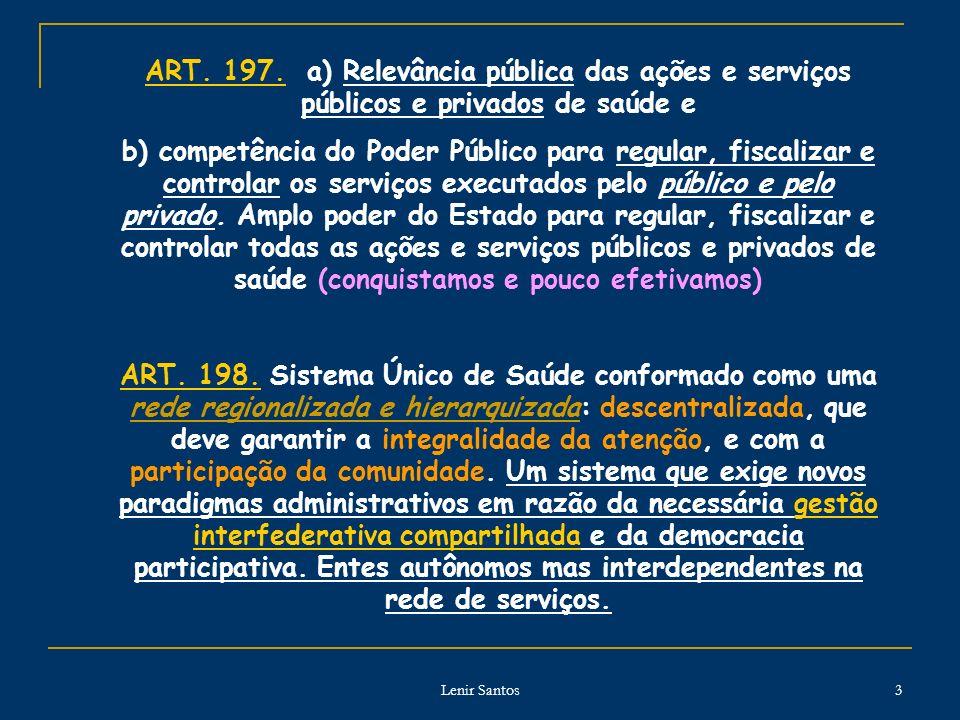Lenir Santos 3 ART. 197. a) Relevância pública das ações e serviços públicos e privados de saúde e b) competência do Poder Público para regular, fisca