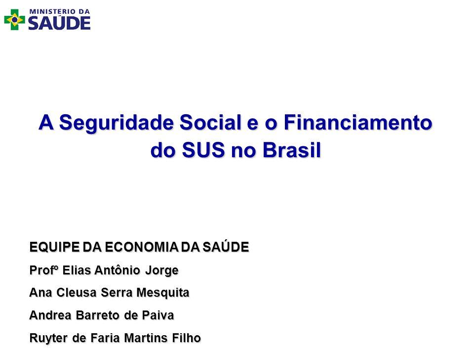 A Seguridade Social e o Financiamento do SUS no Brasil EQUIPE DA ECONOMIA DA SAÚDE Profº Elias Antônio Jorge Ana Cleusa Serra Mesquita Andrea Barreto