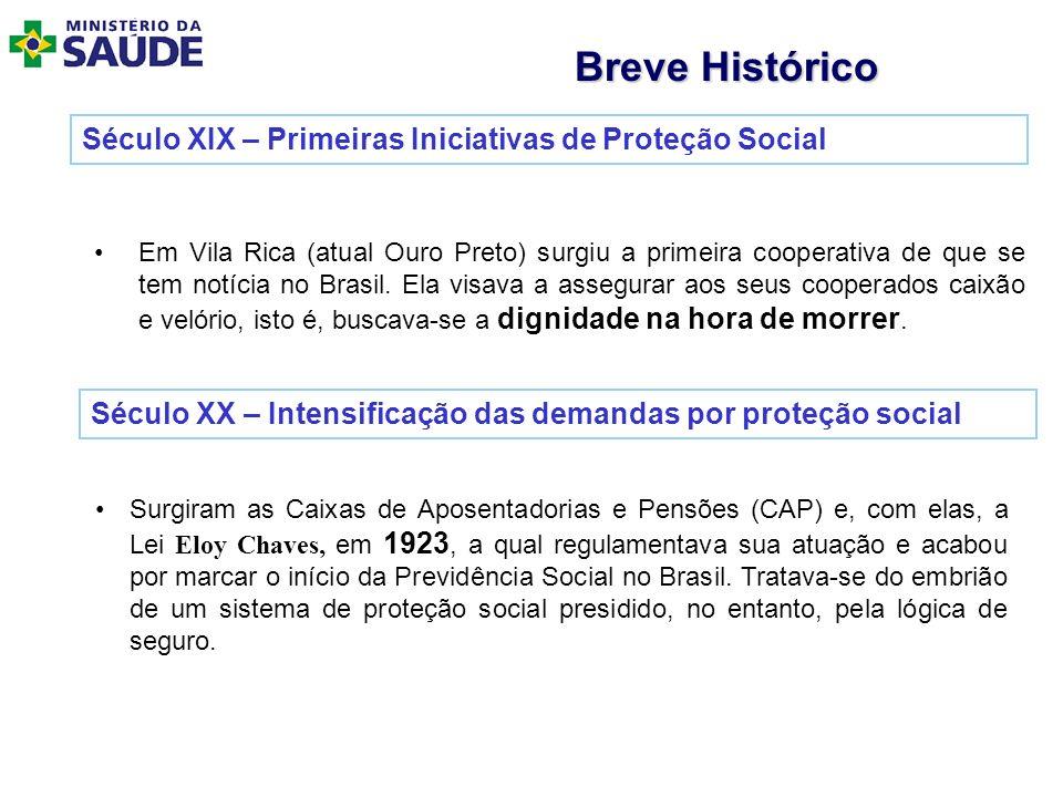 Século XIX – Primeiras Iniciativas de Proteção Social Em Vila Rica (atual Ouro Preto) surgiu a primeira cooperativa de que se tem notícia no Brasil. E