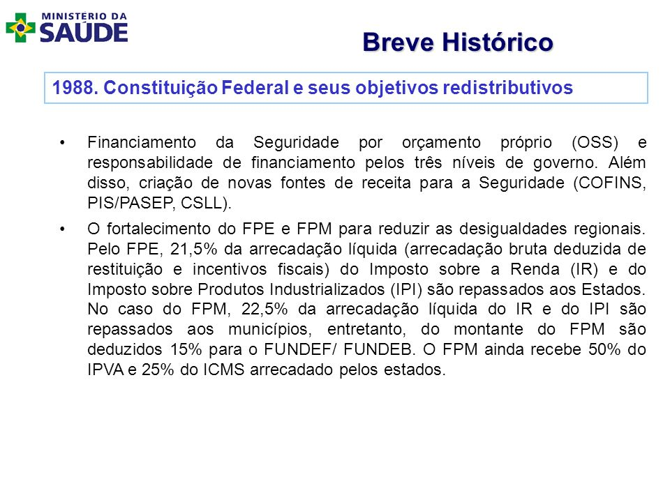 1988. Constituição Federal e seus objetivos redistributivos Financiamento da Seguridade por orçamento próprio (OSS) e responsabilidade de financiament