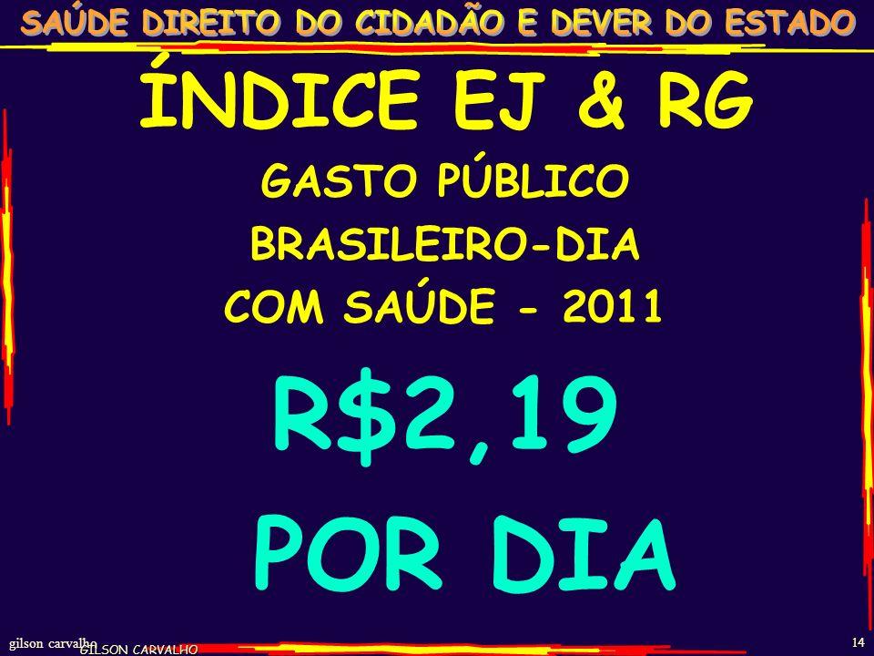 gilson carvalho 13 ESTIMATIVA GASTO SAÚDE BRASIL - 2011 FONTES R$ BI% PP% TOT%PIB FEDERAL 724722 1,7 ESTADUAL 402612 1,0 MUNICIPAL 422713 1,0 TOTAL PÚ